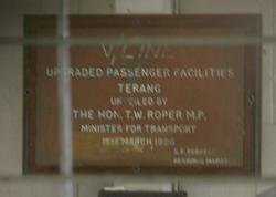Plaque marking the upgrading of Terang station