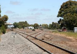 Terang: Looking down the line to the station and siding