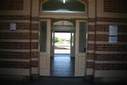 Terang: Looking through the waiting room to the platfrom