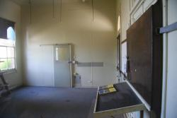 Inside the closed ticket office