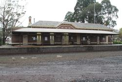 Railway side of the platform and station building