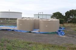 Water tanks stored at the Metro Infrastructure Sidings