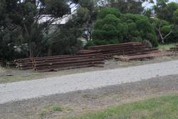 Stockpiled rail at the Metro Infrastructure Sidings