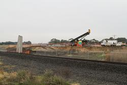 Piling works underway for a pair of new road over rail bridges