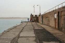 End of the tracks on the breakwater, a bit of subsidence up ahead