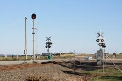 Automatic signal at Reservoir Road at stop, to prevent the flashing lights from operating during shunting movements