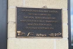 Plaque marking the opening of Waurn Ponds station in October 2014