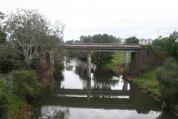 Railway bridges over the Werribee River viewed from the south