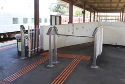 Werribee: Myki readers at the top of the pedestrian subway ramp