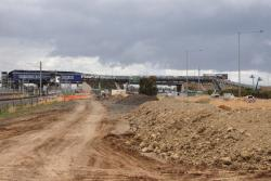 Looking east towards the station, footbridge over Princes Freeway now in place