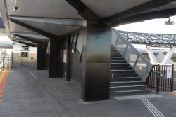 Stairs and lift at the eastern end of the platform