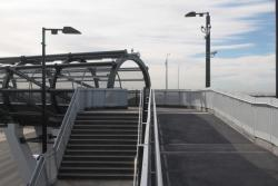 Long ramp and short stairs rejoin at the Point Cook entrance to the station