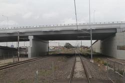 Palmers Road crosses over the railway at Williams Landing