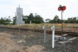 Point indicator and signalling controls at the Melbourne end of the loop, looking east