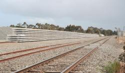 Stockpile of concrete sleepers