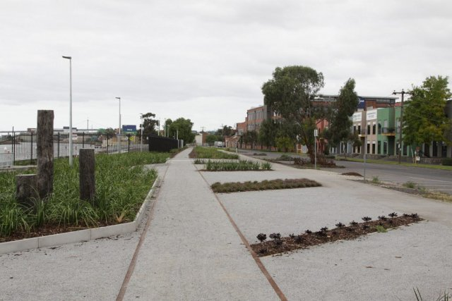 Tracks covered at Napier Street, looking down the line