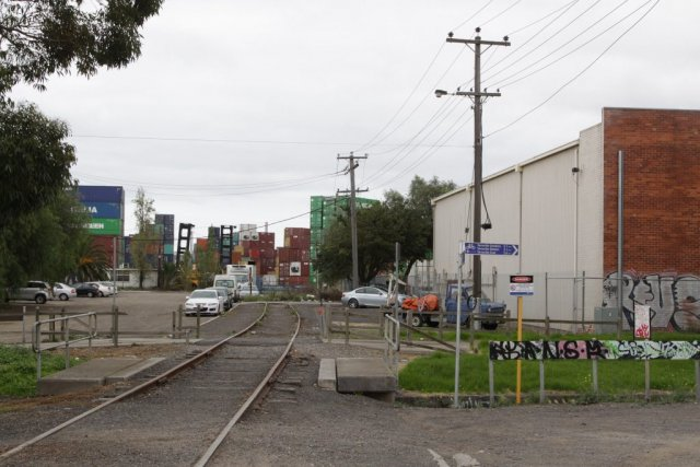 Looking down the line from Lyons Street