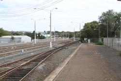 Disused section of track at the down end of the station