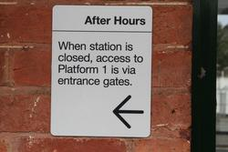 'After hours access' sign at Bacchus Marsh station