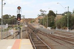 Signals at the up end of the station