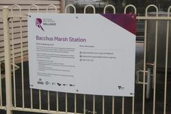 'Regional Rail Revival' poster at Bacchus Marsh station