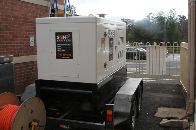 Temporary diesel generator powering the station building
