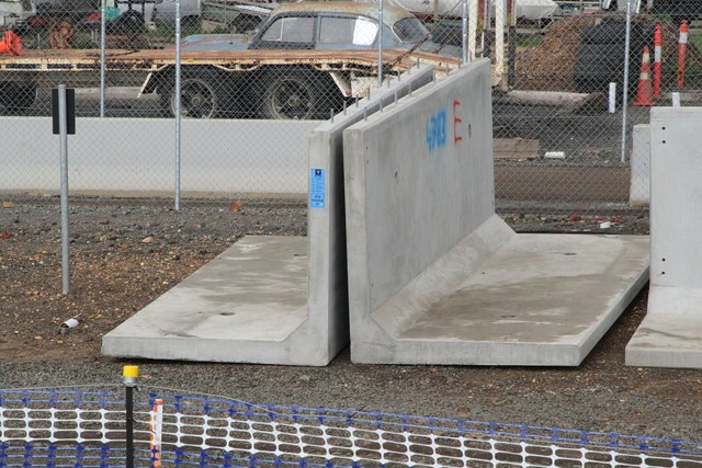 Precast concrete platform coping panels by Westkok waiting to be installed