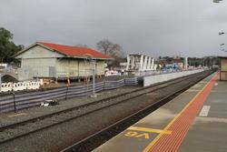 Goods shed still in place, new footbridge span ready to be lifted into place