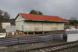 Goods shed still in place, new platform taking shape in front