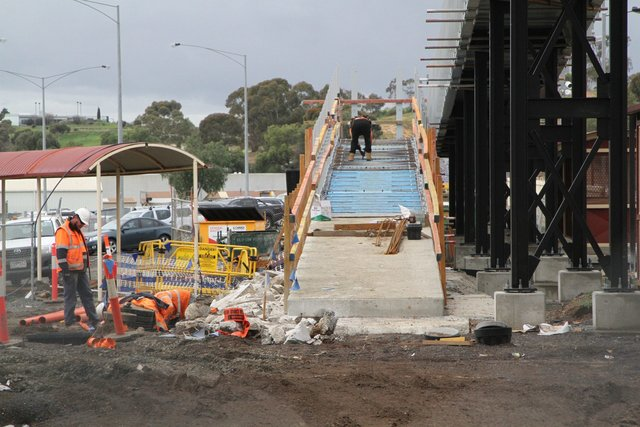'Town' side of the new footbridge well underway
