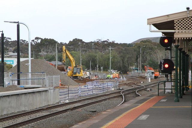 Main line track removed at the down end to make way for duplication