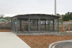 Bacchus Marsh: Parkiteer bike cage at the north-west side of the station