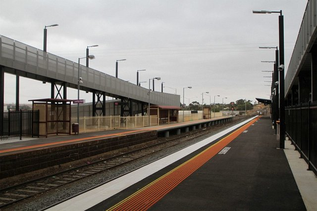 Up end of the station, both platforms now in place
