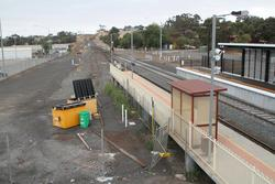 Bacchus Marsh: Tracks still in place leading to the turntable, but covered in gravel
