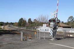 Construction of the new passing loop underway east of Windle Street in Ballan