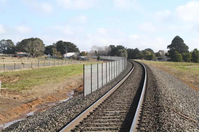 Construction of the new passing loop underway west of Windle Street in Ballan
