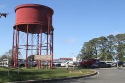 Restored water tank outside the station at Ballan