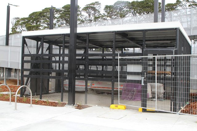New bike cage in the station forecourt