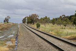Cleared formation but no tracks will be laid at the up end of the Ingliston Road level crossing