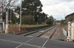 Former Ballarat East station platform, looking east from the Humffray Street level crossing