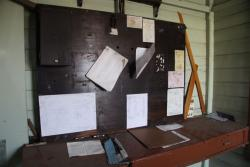 Signallers desk and noticeboard