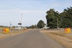 Lights, bells and boom barriers at the Lesters Road level crossing in Bungaree