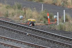 New axle counters installed beside existing track circuits at Caroline Springs