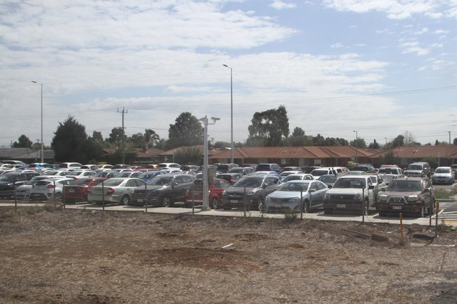 Brand new car park on the north side of Melton station already full of cars