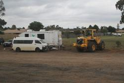Site offices at the down end of the track duplication at Melton