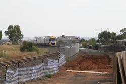 Track duplication west of the Coburns Road level crossing at the down end of Melton