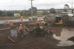 Excavation work at the Coburns Road level crossing