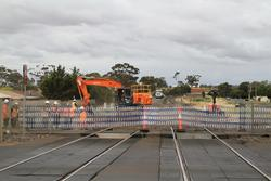Melton: Removing the track at the up end of Melton so the new second track can be tied in