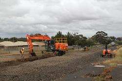 Removing the track at the up end of Melton so the new second track can be tied in