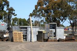 Melton: Signal equipment cabinets in the V/Line yard